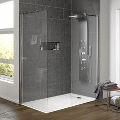 the Aurora Walk In Shower Enclosure with Side Panel & Tray. A fantastic way.Shop the Aurora Walk In Shower Enclosure with Side Panel & Tray. A fantastic way. Walk In Shower Tray, Walk In Shower Kits, Walk In Shower Enclosures, Walk In Shower Designs, Walk In Showers Ideas, Wet Room Shower Tray, Bathroom Shower Panels, Small Bathroom With Shower, Large Shower