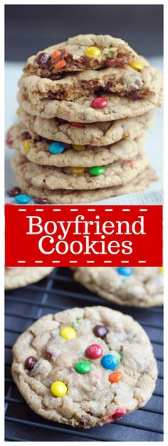 Boyfriend Cookiesloaded with ground oats, milk chocolate, M&M'S, and semi-sweet chocolate chips. They are guaranteed boyfriend bait!