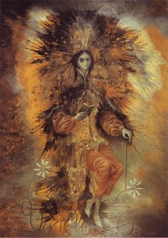 'Personaje,' painting in oil & silver leaf on cardboard by Remedios Varo, 1961.