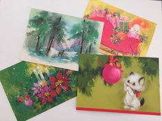 Vintage Christmas Greeting Card Lot of 4 Cat Poodle Deer Ornament Candle Glitter #ChristmasHoliday