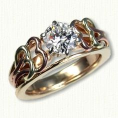 14kt Two Tone Celtic Twin Hearts Engagement Ring - Hearts are 14kt Green & 14kt Rose Gold set with a .90ct Round Diamond  All Colors of Gold Available