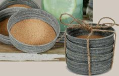 old mason jar lids lined with cork = rustic coasters.