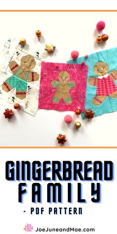 """Gingerbread Family Quilt Block PDF pattern. Christmas is the most wonderful time of the year.... Each of these patterns are for a 8"""" x 8"""" and 10""""x 10"""" block.( all sizes are included) The 'child' gingerbread man pattern comes in 3 sizes 6""""x 6"""", 8""""x 8"""" and 10""""x 10"""" block size. #JoeJuneandMae #Christmasquilts #Christmasquiltspattern #Christmasquiltblocks"""