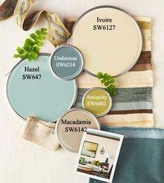 Color Schemes Color Palette via (Paint via Sherwin Williams)Color Palette via (Paint via Sherwin Williams) Interior Color Schemes, Paint Color Schemes, Interior Paint Colors, Paint Colors For Home, House Colors, Home Interior Design, Kitchen Color Schemes, Rustic Color Schemes, Exterior Color Palette