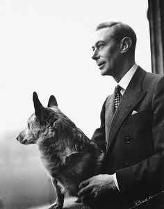 King George VI with a corgi