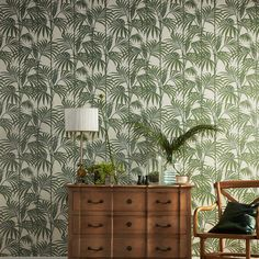 Graham & Brown Julien Macdonald Honolulu Palm green Foliage Glitter effect Embossed Wallpaper - B&Q for all your home and garden supplies and advice on all the latest DIY trends Palm Leaf Wallpaper, 2017 Wallpaper, Tropical Wallpaper, Glitter Wallpaper, Tree Wallpaper, Textured Wallpaper, Print Wallpaper, Bedroom Wallpaper, Modern Wallpaper