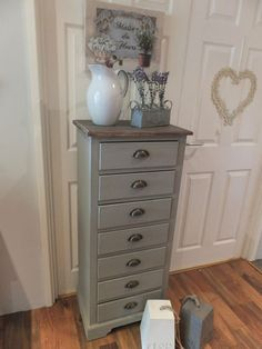 Nantes Grey Tall Boy Chest Of Drawers Country Shabby Chic Ebay