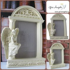 With these lovely frames your favourite picture can be surrounded by angels. This frame is the door way to an arched temple, with pillars either side. The beautiful angel of courage is sat elegantly by the side. Available www.graangels.ie