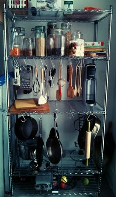 S hooks to hang kitchen tools, pots and pans etc. S hooks to hang kitchen tools, pots and pans etc. Kitchen Pantry Cabinets, Kitchen Cabinet Organization, Kitchen Shelves, Diy Kitchen, Kitchen Tools, Kitchen Storage, Home Organization, Kitchen Decor, Kitchen Design