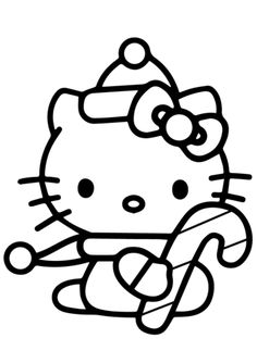 Hello Kitty with Christmas Candy Cane Coloring page