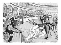 toros ilustraciones sobre el lado mas oscuro del ser humano