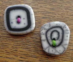 New in @Hippystitch - Raku Button Brooches