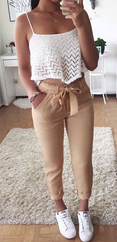 casual style inspiration top + pants + sneakers