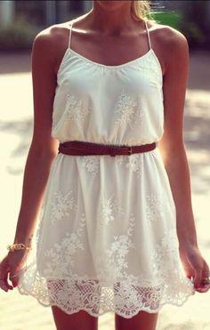 Vestido encaje correa de espagueti-blanco 17.57