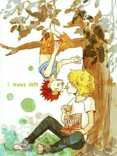 I want it!!, Kid, Killer, cute, hanging, upside down, tree, branch, chips, biscuits, text, yaoi, young, childhood; One Piece