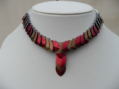 Red and Gold Scalemaille Necklace £19.50