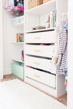 closet storage Kids Closet Makeover with IKEA Closet Organizer - DIY Used Air Compres Ikea Closet Hack, Closet Hacks, Kid Closet, Closet Makeovers, Entryway Closet, Girls Closet Organization, Ikea Closet Organizer, Diy Organization, Closet Storage