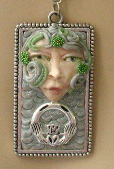 Celtic Claddagh Goddess Pendant Necklace Jewelry Handmade NEW Polymer Clay Art