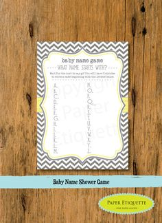 INSTANT UPLOAD  Baby Shower Game Gray Chevron (Gender Neutral)   - Print Your Own