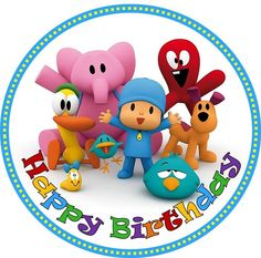 EDIBLE Pocoyo image wafer round cake topper image birthday party decor 18cm