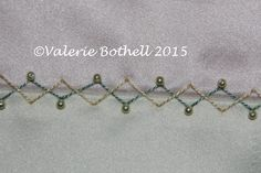 Crazy Quilt Stitch #132, Back Stitch in 2 different colors + Pearls ©Valerie Bothell 2015