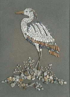 Pebble Mosaic, Pebble Art, Mosaic Art, Stone Crafts, Rock Crafts, Pebble Painting, Stone Painting, Art Pierre, Deco Originale