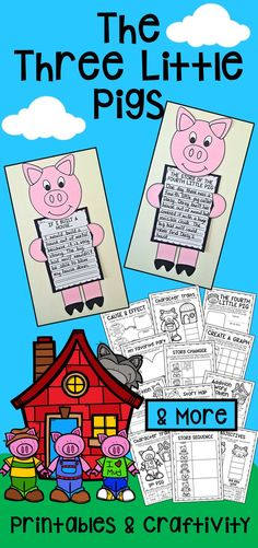 Three Little Pigs Literacy and Math Printables. Includes sequencing, summarising, comparing stories, character traits, adjectives, cause and effect, word problems and bar graphs. Also includes a craftivity.