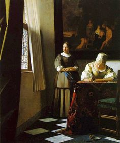 Johannes Vermeer: Lady writing a letter with her maid, 1670-71