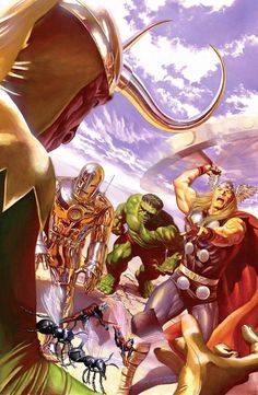 All-New All-Different Avengers, Vol. 1 # 01 Retro Variant Cover, illustrated by Alex Ross, after Jack Kirby and Dick Ayers. Comic Book Artists, Comic Book Characters, Marvel Characters, Comic Books Art, Alex Ross, Captain Marvel, Captain America, Moon Knight, Marvel Comics Art
