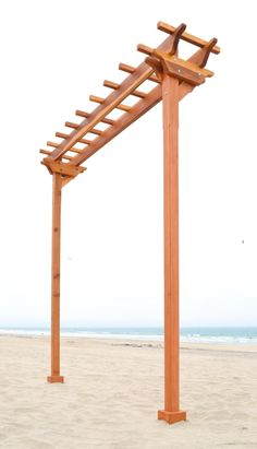 Two-Post Arbor (Options: 10' x 2', Redwood, No Privacy Panel, 11 ft Posts Height, 2-Post Anchor Kit, Transparent Premium Sealant).