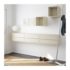 VALJE Wall cabinet with 6 drawers  - IKEA |  $305. Allows tabletop surface plus open storage and concealed storage. However it's made of particleboard.