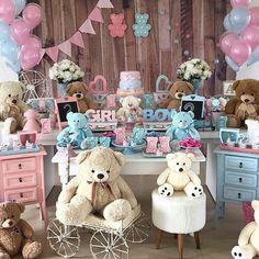 Gender Party, Baby Gender Reveal Party, Decoracion Baby Shower Niña, Teddy Bear Birthday, Baby Shawer, Reveal Parties, Baby Boy Shower, Birthday Decorations, Diy Flowers