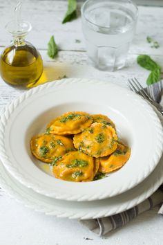 CARROT RAVIOLI WITH SPINACH-PECAN FILLING