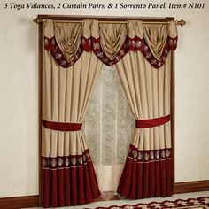 Roman Empire Tailored Curtain Pair Gold Burgundy 84 x 84