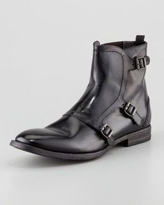 Triple-Buckle Leather Boots, Black  by Alexander McQueen at Neiman Marcus.