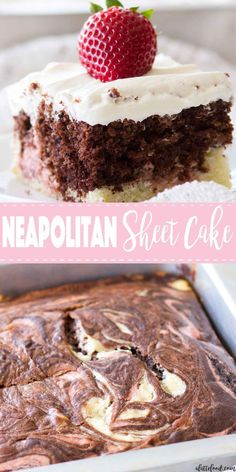 This homemade Neapolitan Sheet Cake recipe has swirls of vanilla cake, chocolate cake, and strawberry cake. This Neapolitan Cake is topped with the creamiest Whipped Cream Cheese Frosting, making this cake totally irresistible! Easy Baking Recipes, Easy Cake Recipes, Cupcake Recipes, Cupcake Cakes, Dessert Recipes, Poke Cakes, Layer Cakes, Mini Desserts, Just Desserts