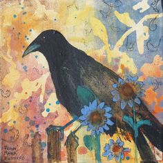 Thoughts On The Fence black bird print by RobinMariaPedrero, $20.00