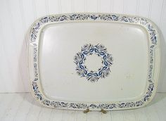 Large Vintage French Blue ToleWare Metal Serving by DivineOrders, $12.00