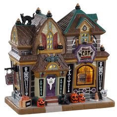 Buy Lemax - Black Cat Halloween Décor- B/o Led in the Felinaworld webshop. Part of ✓ Order Lemax before ➜ shipped the same day. Chat Halloween, Halloween Village, Halloween Decorations, Village Lemax, Village Houses, Witches Night Out, Light Building, Decorative Items, Cats