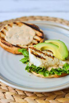 "Grilled Fish Sandwiches with Smoked Paprika, Lemon & Garlic ""Aioli&q..."