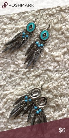 Navajo inspired earrings Never worn. Has cute feather detail on the dangles Jewelry Earrings