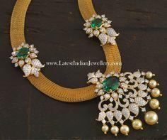 Diamond Emerald Pendant Mesh Chain