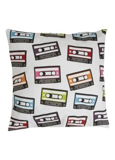 😂had this yrs wrote songs and singers on the cassettes with stained by sharpie Matalan - Digital Print Tape Cassettes Cushion Eyelash Pillow, Creative Co Op, Printed Cushions, Matalan, Kid Spaces, My New Room, Soft Furnishings, Surface Design, Decorative Pillows