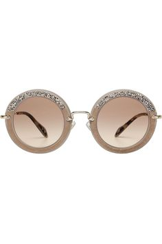 12a670c003e Miu Miu Noir Embellished Round Sunglasses with Suede
