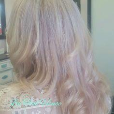 soft pink hair color  blended blonde