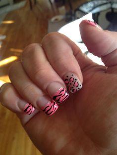My animalistic nails , leopard & zebra print