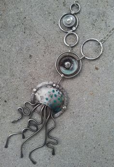 Nemesis of Nyad  Silver Jellyfish Necklace by beadkeepers on Etsy