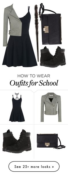 """Set for School #12"" by piper-chauhan on Polyvore featuring WithChic, Timberland, IRO, Emma Watson and Jimmy Choo"