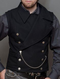 steampunk time — Victorian Military Mens Vest by Wells and Verne Steampunk Men, Steampunk Wedding, Steampunk Costume, Steampunk Clothing, Steampunk Fashion, Victorian Fashion, Men's Fashion, Fashion Outfits, Latex Fashion