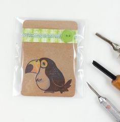 geschnitzter Tukan Stempel für Scrapbooking, Karten basteln und Verzieren, handmade carved stamp cute bird von Nesalis auf Etsy